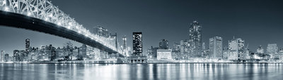 Panorama New York City by night - vanaf formaat 140 x 40 cm